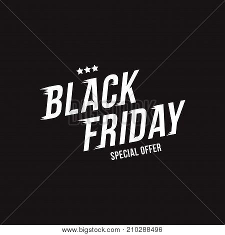 Black Friday. Font Inscription For The Holiday Sale On Black Background. Flat Vector Illustration Ep
