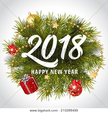 2018 Happy New Year lettering with Christmas wreath, baubles and gift boxes. Holiday, celebration, festivity. Party concept. Can be used for greeting card, poster, leaflet and brochure