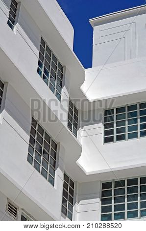 A renovated building in the south beach section of Miami Beach provides a classic example of art-deco architecture.