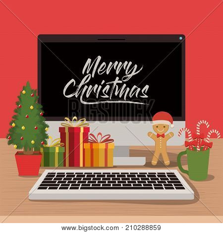 merry christmas poster with desktop computer scene in front view with christmas decoration vector illustration