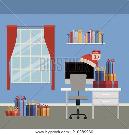 christmas home scene with window background and office desktop with computer and christmas gifts vector illustration