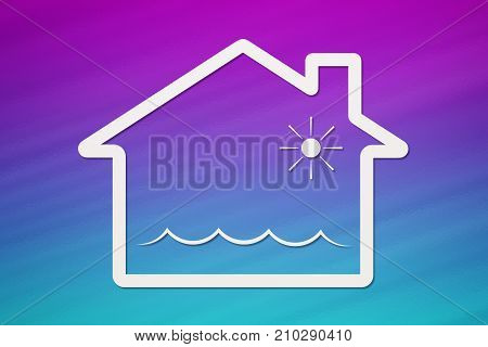 Paper house with water waves inside deluge or flooding abstract conceptual image on colorful background