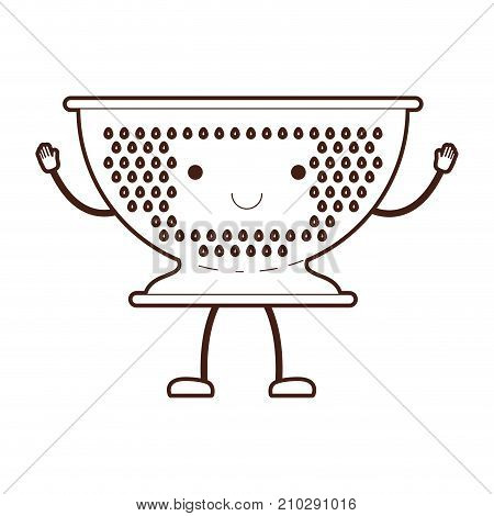 kitchen drainer cartoon brown silhouette vector illustration
