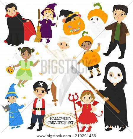 Halloween characters and items cartoon vector collection