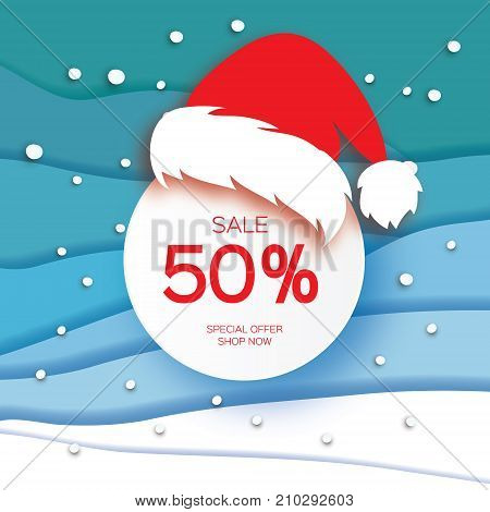 Merry Christmas Big Sale for Promotion. Paper cut Snowflakes and Red Santa Hat. Origami carving Decorations. Happy New Year. Snowfall Text. Landscape. Blue background. Vector Illustration