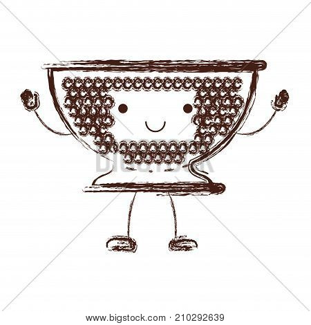 kitchen drainer cartoon in brown blurred silhouette vector illustration