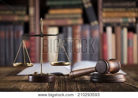 Law and justice theme. Lawyer office. Mallet, books and scale.