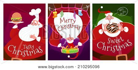 Three Christmas Cards With Santa Claus.
