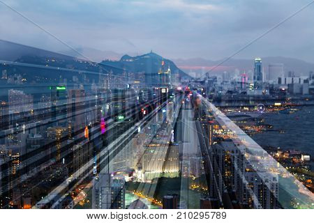 Hong Kong city business downtown blurred bokeh double exposure motion blurred abstract background