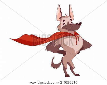 The super dog with the red cloak in the heroic pose. The human's best furry friend. Vector illustration on a white background.