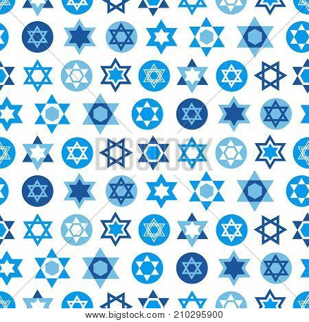 Blue Star of David symbols collection. Jewish seamless pattern. Judaism sign for textile, wallpaper, web page background, Jewish holidays design. Vector illustration