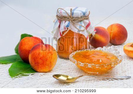 Peach Jam In The Jar On The Table