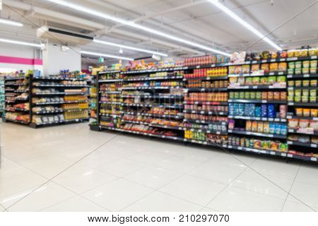Abstract blurred in supermarket and commodity product on shelf