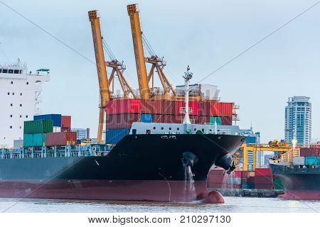 Container shipping and marine at terminal loading dock, Cargo and shipping