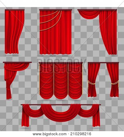 Realistic red velvet stage curtains, scarlet theatre drapery isolated on transparent background. Curtain velvet red color for decoration theater interior. Vector illustration