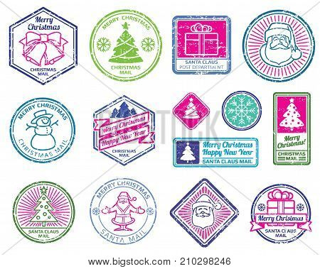 Christmas Santa postage letter stamps. Winter holydays decoration vector set. Postage christmas stamp, xmas color postmark with santa claus illustration