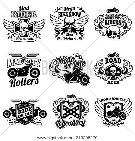 Vintage motorcycle labels. Motorbike vector retro badges and logos. Badge motorcycle and motorbike, label vintage emblem for moto club illustration