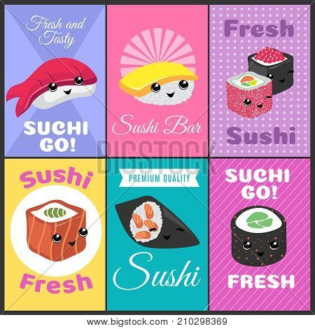 Vintage sushi vector posters in japan comic style. Color banner sushi bar, japanese food menu illustration