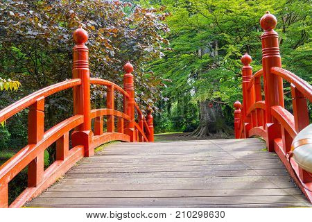 Japanese style red humped bridge leading to garden of large trees.