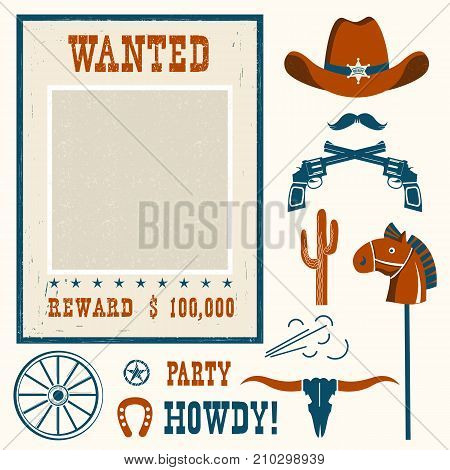 Wanted Poster For Cowboy Party .