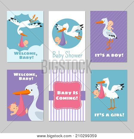Baby shower invitations vector cards with stork and baby. Arrival boy or girl illustration