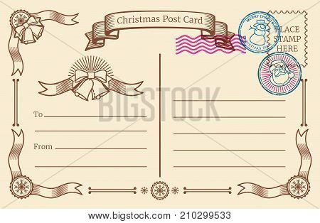 Vintage christmas blank postcard with text space and xmas postal stamps. Vector template postcard blank for xmas holiday with stamp illustration