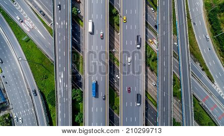 Top View City Traffic Of Highway And Bridge.