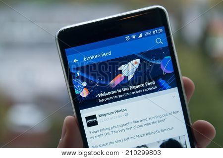 San Francisco, october 10, 2017: New second facebook timeline explore feed on mobile phone