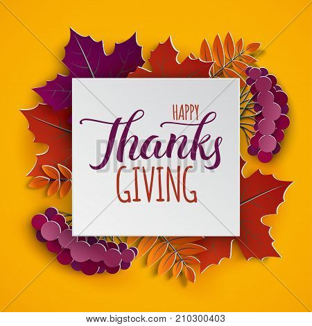Autumn floral paper frame and paper colorful tree leaves on yellow background. Autumnal design for fall season poster flyer web site thanksgiving greeting card paper cut style vector illustration