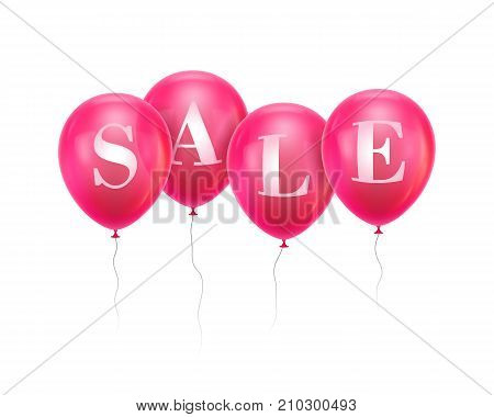 Sale pink balloon. Four pink helium balloon hanging in a row with letters Sale. Advertising banner for sellers, sites, stores, mobile applications. Vector illustration isolated on white background