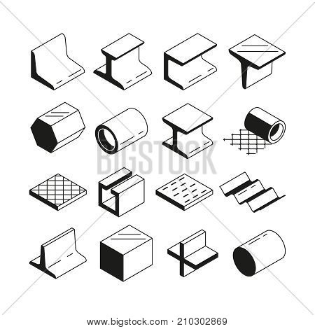 Icons set in monochrome. Metallurgy production. Vector pictures of steel isolate on white. Steel construction production, material metal tube and profile illustration