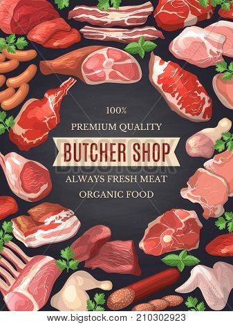 Food pictures set. Illustrations of meat. Poster for butcher shop with organic meat product, sirloin and fresh steak pork vector