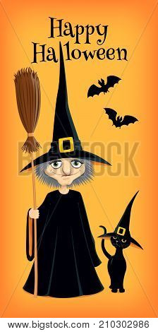Vector illustration of a witch and her black cat both wearing pointed hats. Orange background. Vertical format. Greeting text 'Happy Halloween'