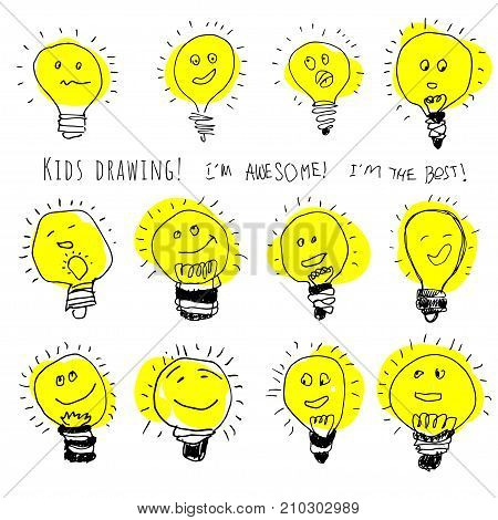 Set of bulb icons, stylized kids drawing. Children drawing of lamps with cute cartoon faces. Creative hand draw lightbulb illustration isolated on wite background, hand draw sketch.