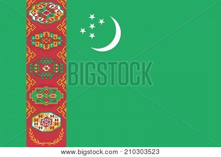 The Official vector flag of Turkmenistan .