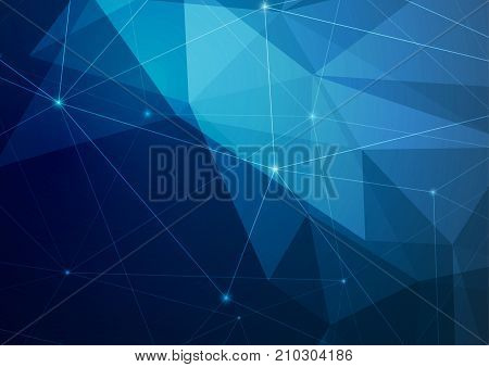 Crystal structure abstract modern polygonal dark blue background. Futuristic geometric triangle texture hi-tech low poly layout template. Vector illustration