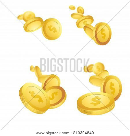Golden stream - coins collection flying towards the viewpoint. million dollar lottery game Jackpot reward. Casino prize money. Isolated realistic 3D currency over white layout. Vector illustration