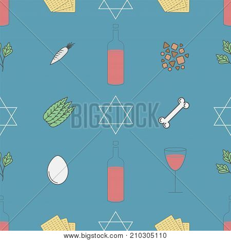 Passover seder plate seamless pattern Vector icon for web graphic.
