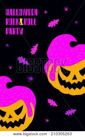 Vector illustration of a pumpkin with a male rockabilly hairstyle. Vibrant colors on a black background vertical format. Text 'Halloween rock&roll party'