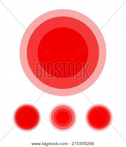 Pain symbol circle set. Red medical ring icons illustration