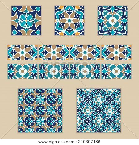 Vector set of Moroccan tiles and borders. Collection of colored patterns for design and fashion. Arabic, Tunisian, Turkish ornaments