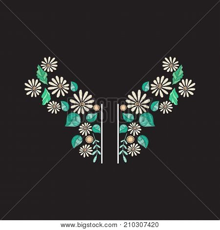 Vector embroidery neckline design. Colored floral pattern for neck print with decorative embroidered flowers and  leaves. Ethnic folk ornament poster