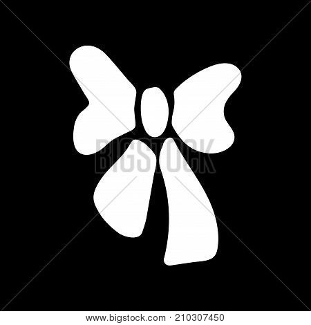 White bow sign. Image of elegant present. Beautiful icon isolated on black background. Surprise symbol. Logo for romance or business. Mark of decoration for gift. Stock vector illustration
