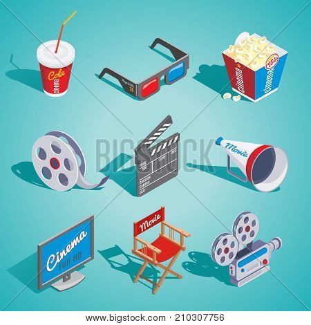 Isometric cinema elements set with soda popcorn glasses film reel clapper loudspeaker screen director chair camera isolated vector illustration