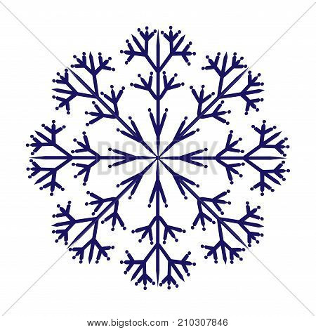 Snowflake sign. Winter design. Blue ice icon isolated on white background. Image of snow season. Cold ornament symbol. Logo for christmas or frozen celebration. Stock vector illustration