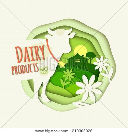 Rural landscape cow daisies farm and inscription