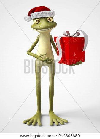 3D rendering of a smiling cartoon frog wearing a Santa hat and holding a Christmas present. White background.