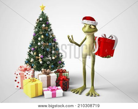 3D rendering of a smiling cartoon frog wearing a Santa hat and holding a Christmas present. He stands beside a Christmas tree with gifts under it. White background.