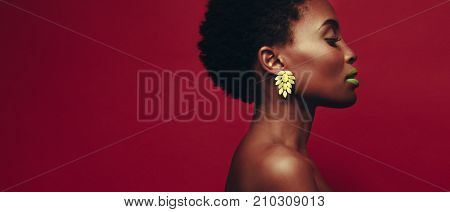 Side View Of Beautiful African Young Woman