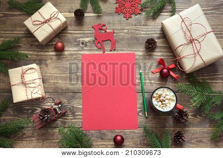 Christmas Composition With Giftbox. Empty Red Blank Letter For Santa Or Your Wishlist Or Advent Acti